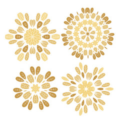 set of elements for design stylized flowers vector image