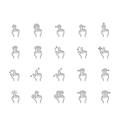 set touch screen gestures line icon hand click vector image