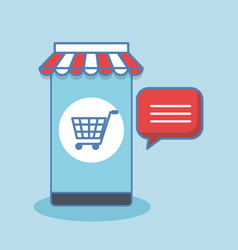 shopping online with smartphone digital internet vector image