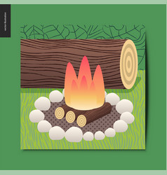 simple things - camp fire vector image