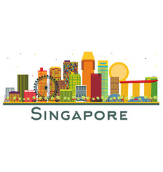 singapore skyline with color buildings isolated vector image