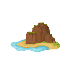 small sandy island surrounded by water brown vector image