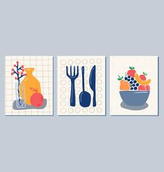 Still life wall art kitchen coocking composition vector