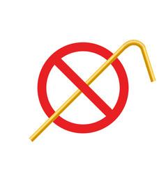 stop plastic straw tube ban symbol ocean vector image