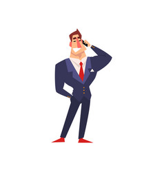 successful businessman character in blue suit vector image