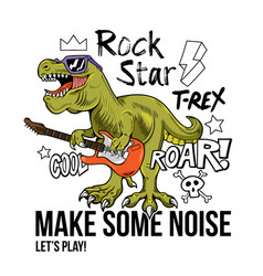T-rex rock star print design vector