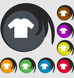 t-shirt icon sign Symbol on eight colored buttons vector image