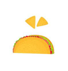 Taco and nachos isolated on a white background vector