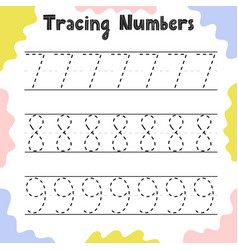 Tracing numbers 7 8 9 activity page for kids vector