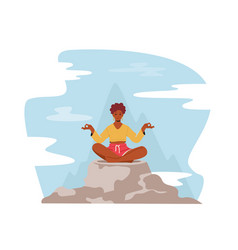 Tranquil woman meditating in lotus pose sitting on vector