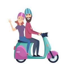 travellers on scooter happy tourists riding vector image