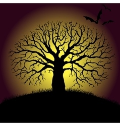 Tree and bat silhouettes vector