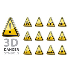 Triangel danger sign 3D vector image