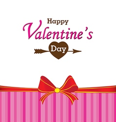 Valentines Day and gift on white and pink vector image