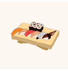 Various pieces of Sushi vector