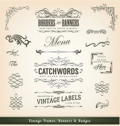 Vintage calligraphic frames and banners vector