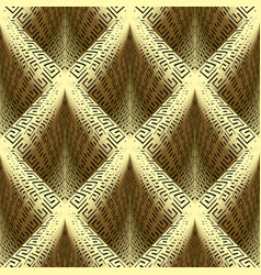 waffle gold 3d greek key seamless pattern vector image