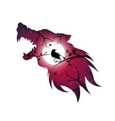 Werewolf wolf dog raven crow - paper vector