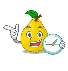 with clock bunch cartoon of juicy yellow quinces vector image