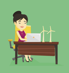 woman working with model of wind turbines vector image