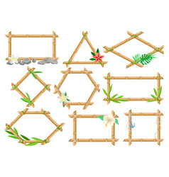 wooden frame made of bamboo sticks set frames of vector image