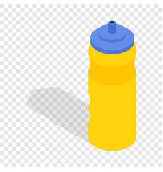 yellow sport plastic water bottle isometric icon vector image