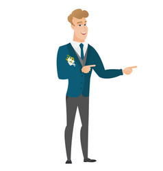 Young caucasian groom pointing to the side vector
