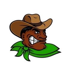Cartoon black rodeo cowboy or rancher character vector image