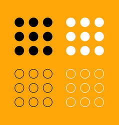 dial button set black and white icon vector image vector image