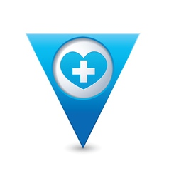 Medical heart icon pointer blue vector