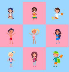 playful children showing emotions poster vector image
