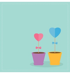 Two heart stick flowers in the pots Flat design vector image vector image
