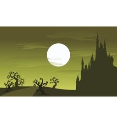 Big castle scenery halloween and full moon vector