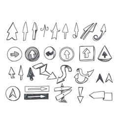 Hand-drawn arrows set vector image vector image