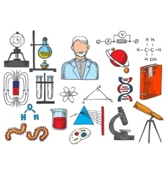 Science items sketch icons vector image vector image