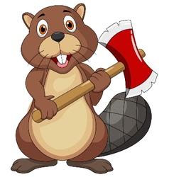 Beaver cartoon holding axe vector