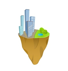 buildings and nature concept on mini slice planet vector image vector image
