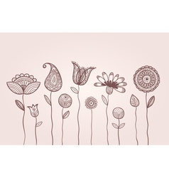 Dotted doodle flowers vector image vector image