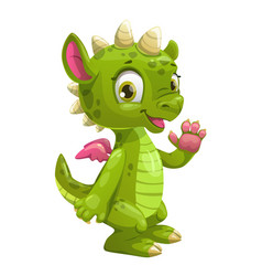 little cute cartoon green dragon vector image vector image