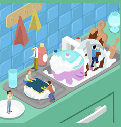 miniature people washing the dishes in the kitchen vector image