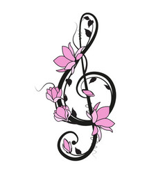 music key with flowers vector image