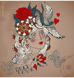 Old-school styled tattoo woman Valentine vector image vector image