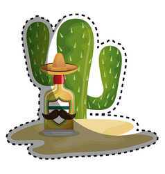 sticker background cactus with bottle of tequila vector image vector image