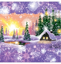 winter landscape with house in forest vector image
