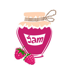 jar of raspberry jam vector image vector image