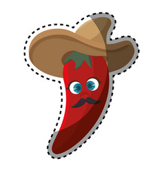 sticker cartoon red hot chili pepper with mexican vector image