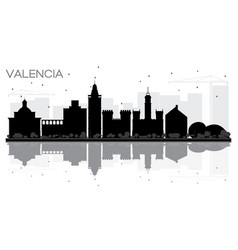 valencia spain city skyline black and white vector image vector image