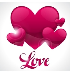 Valentine day background with word love and hearts vector image vector image