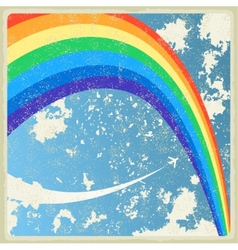 Vintage background with plane and rainbow vector image