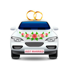 wedding car just married isolated on white vector image vector image
